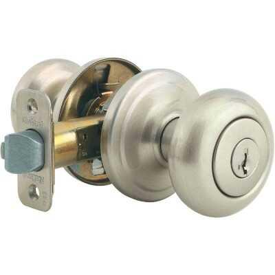 Kwikset Signature Series Satin Nickel Juno Entry Door Knob with SmartKey