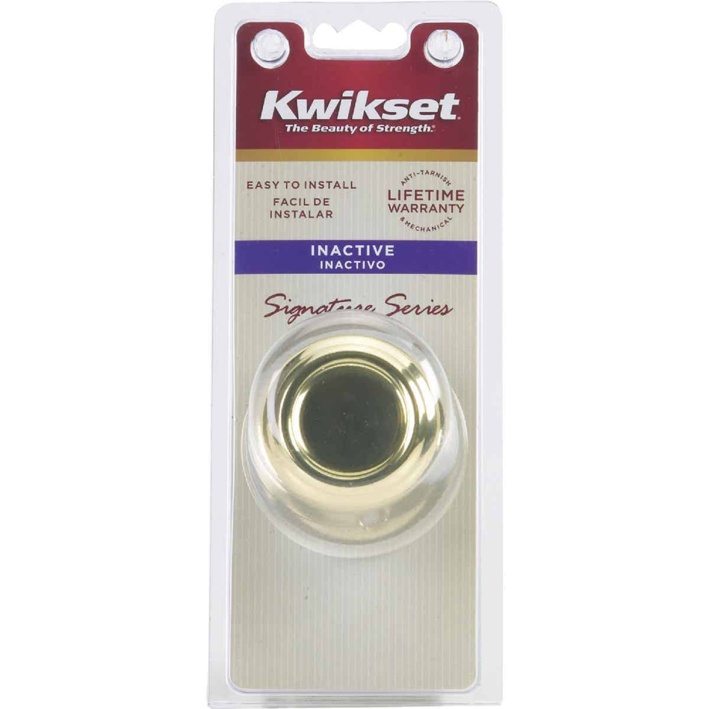 Kwikset Signature Series Polished Brass Cameron Dummy Door Knob Image 2