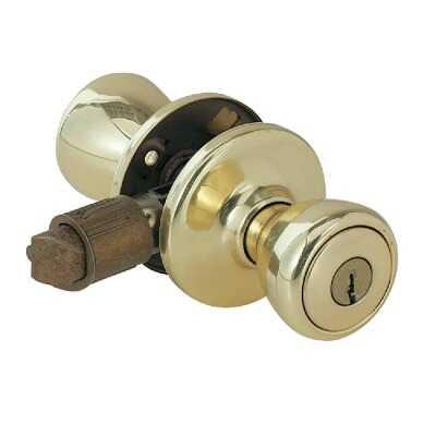 Kwikset Polished Brass Mobile Home Entry Lockset