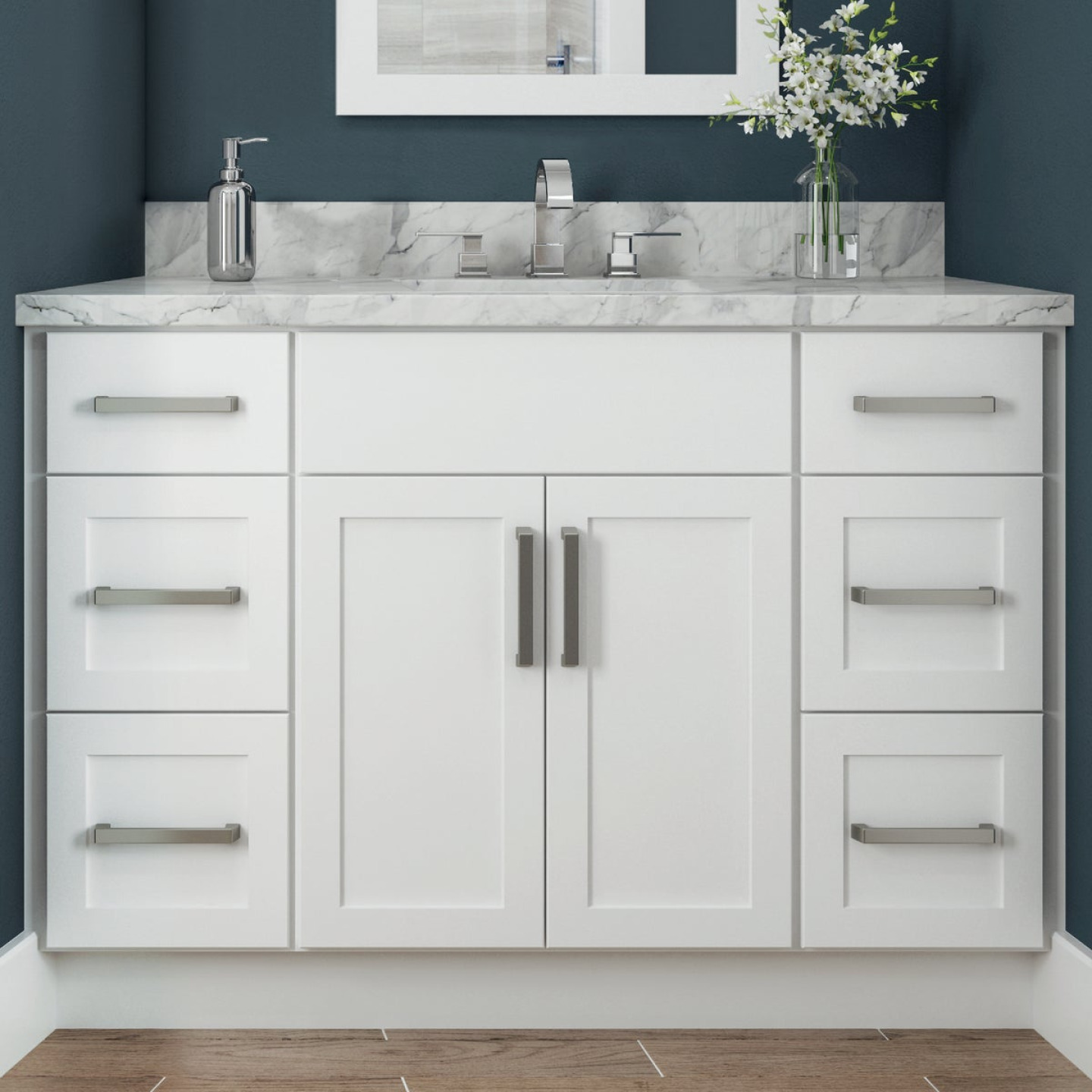Continental Cabinets Andover Shaker 12 In. W x 34-1/2 In. H x 21 In. D White Drawer Vanity Base Image 2