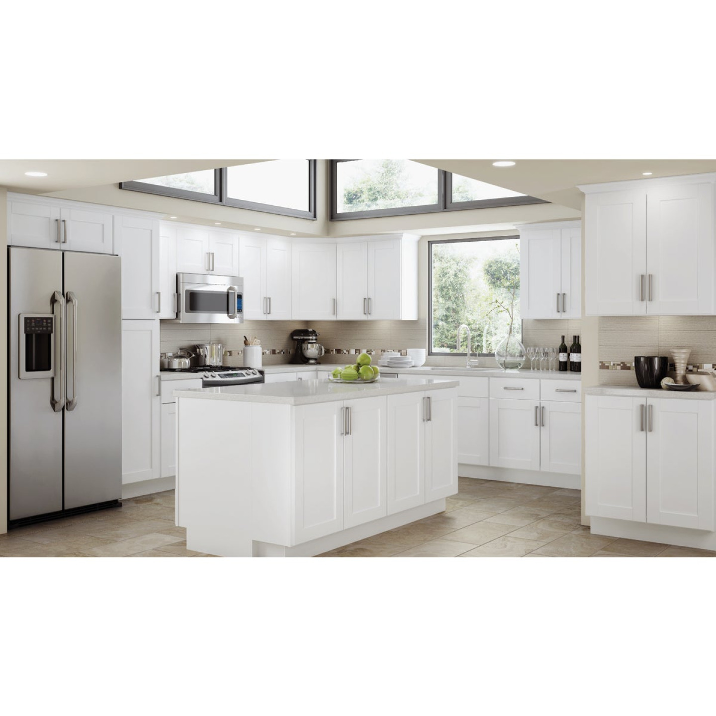 Continental Cabinets Andover Shaker 30 In. W x 34-1/2 In. H x 24 In. D White Thermofoil Sink Base Kitchen Cabinet Image 2