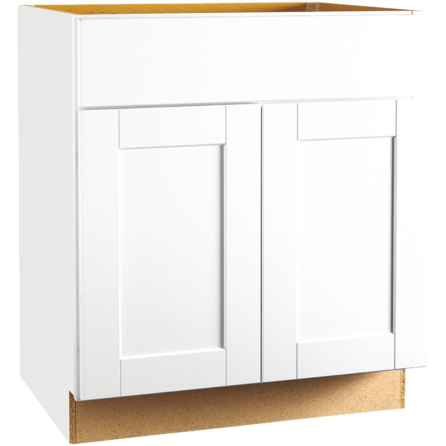 Continental Cabinets Andover Shaker 30 In. W x 34-1/2 In. H x 24 In. D White Thermofoil Sink Base Kitchen Cabinet Image 1