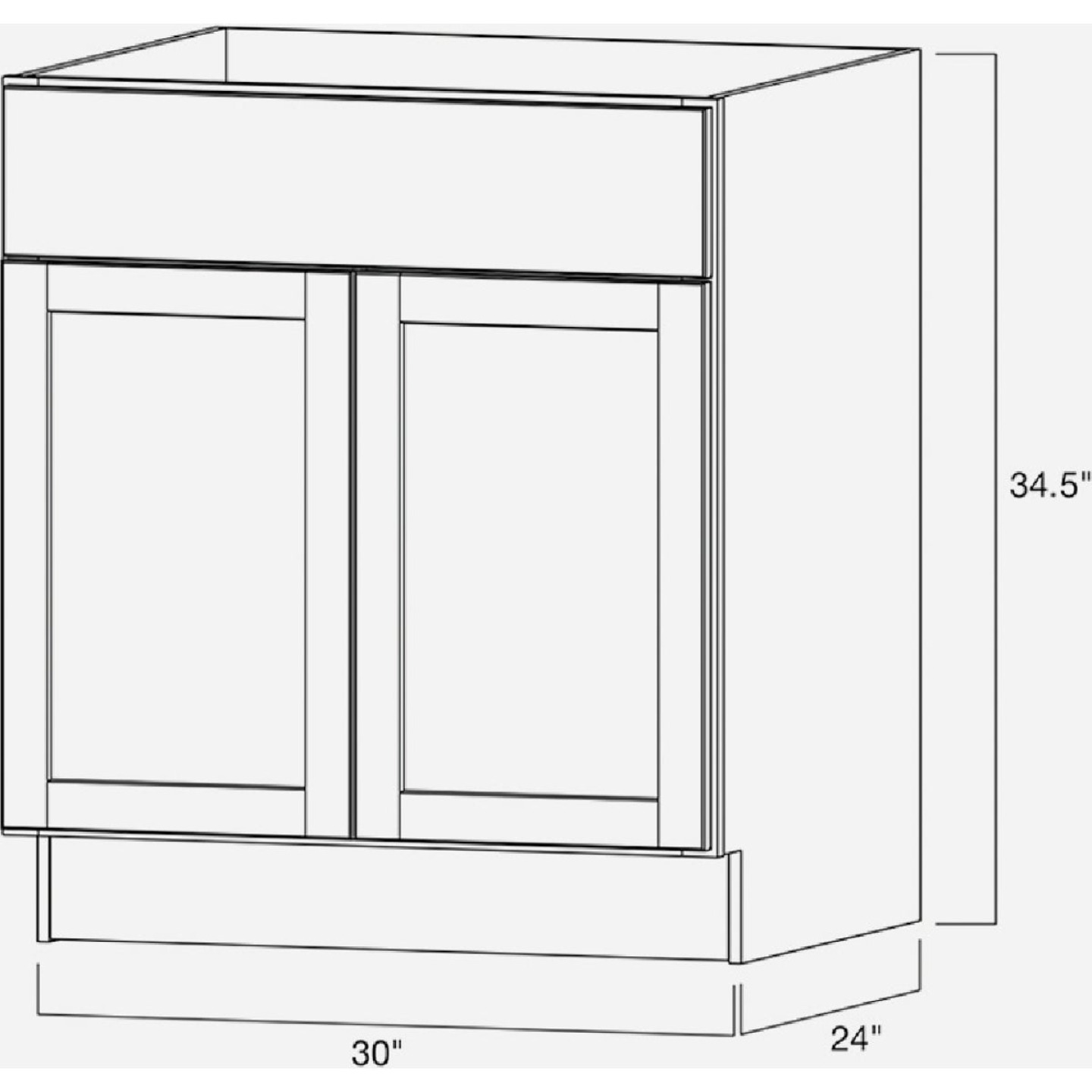 Continental Cabinets Andover Shaker 30 In. W x 34-1/2 In. H x 24 In. D White Thermofoil Sink Base Kitchen Cabinet Image 4