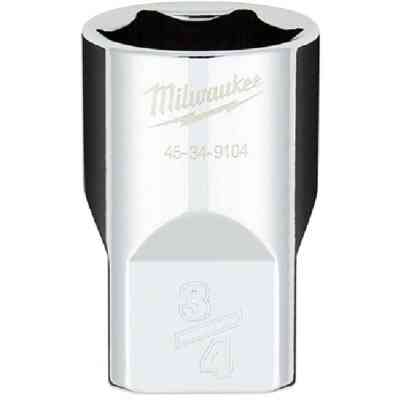 Milwaukee 1/2 In. Drive 3/4 In. 6-Point Shallow Standard Socket with FOUR FLAT Sides