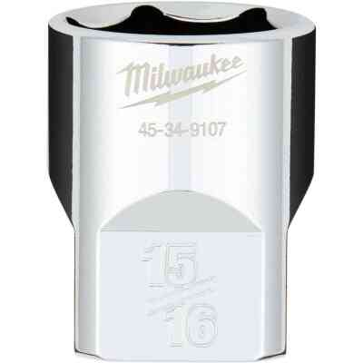 Milwaukee 1/2 In. Drive 15/16 In. 6-Point Shallow Standard Socket with FOUR FLAT Sides