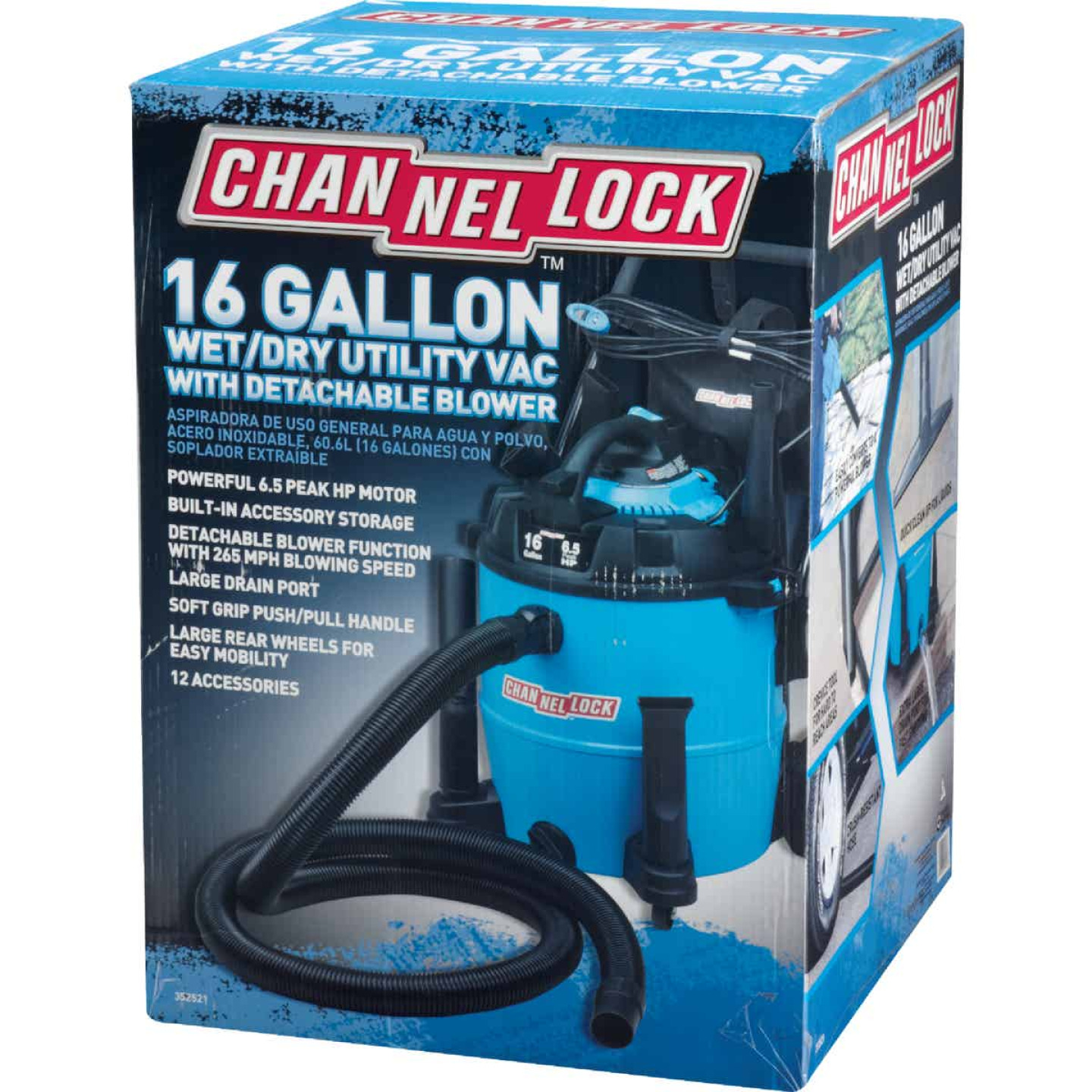 Channellock 16 Gal. 6.5-Peak HP Wet/Dry Vacuum with Blower Image 4
