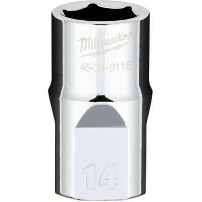 Milwaukee 1/2 In. Drive 14 mm 6-Point Shallow Metric Socket with FOUR FLAT Sides