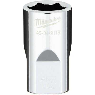 Milwaukee 1/2 In. Drive 15 mm 6-Point Shallow Metric Socket with FOUR FLAT Sides