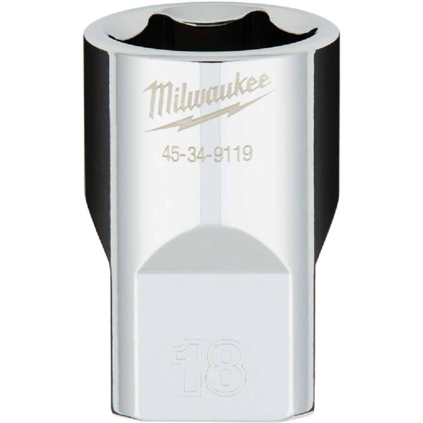 Milwaukee 1/2 In. Drive 18 mm 6-Point Shallow Metric Socket with FOUR FLAT Sides Image 1