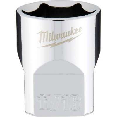 Milwaukee 3/8 In. Drive 11/16 In. 6-Point Shallow Standard Socket with FOUR FLAT Sides