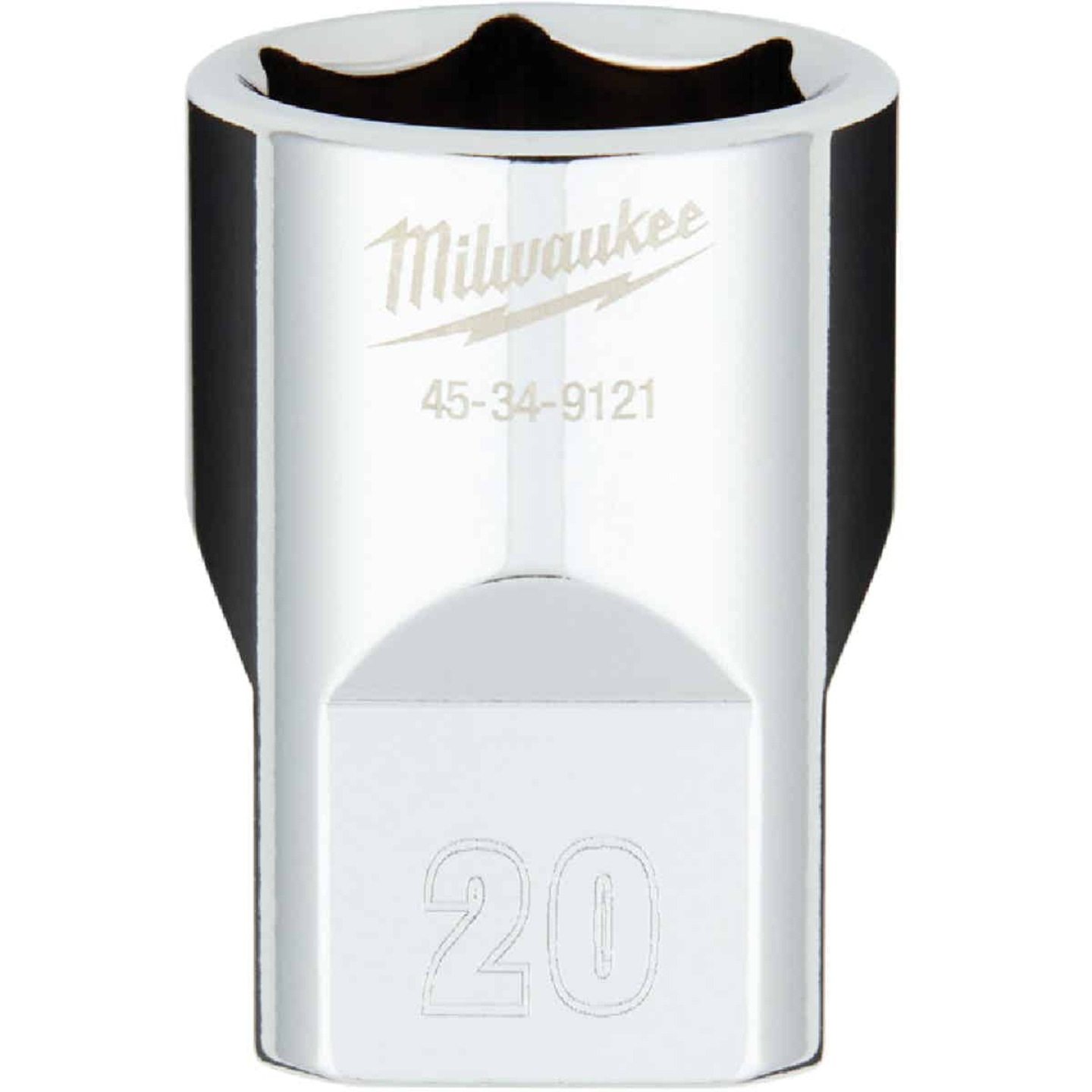 Milwaukee 1/2 In. Drive 20 mm 6-Point Shallow Metric Socket with FOUR FLAT Sides Image 1