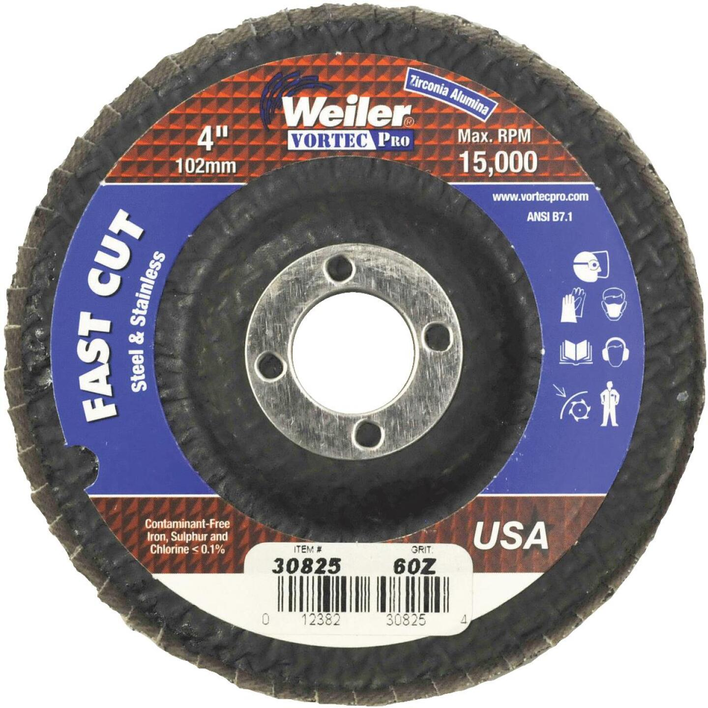 Weiler Vortec 4 In. x 5/8 In. 60-Grit Type 29 Angle Grinder Flap Disc Image 1
