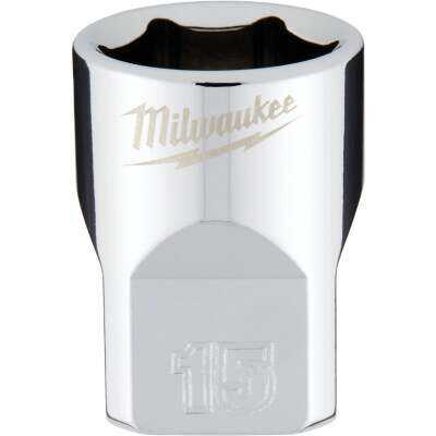 Milwaukee 3/8 In. Drive 15 mm 6-Point Shallow Metric Socket with FOUR FLAT Sides