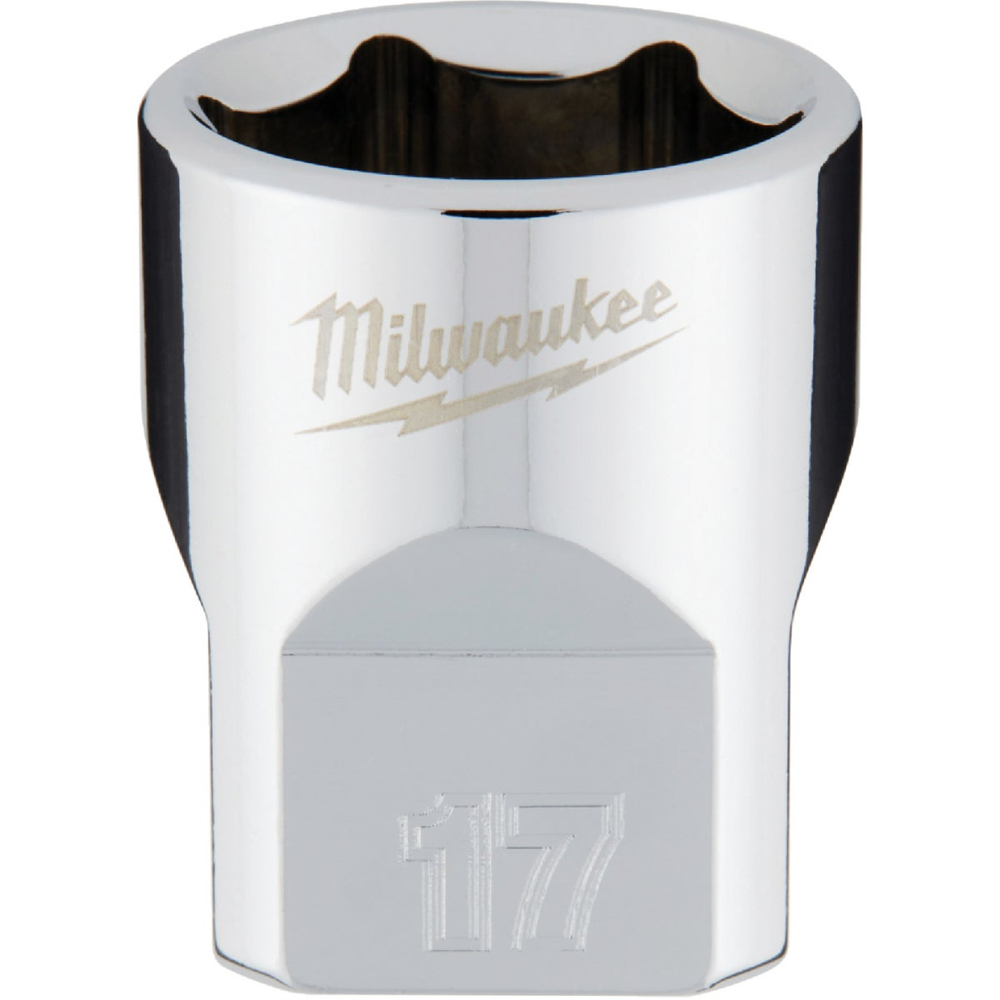 Milwaukee 3/8 In. Drive 17 mm 6-Point Shallow Metric Socket with FOUR FLAT Sides Image 1