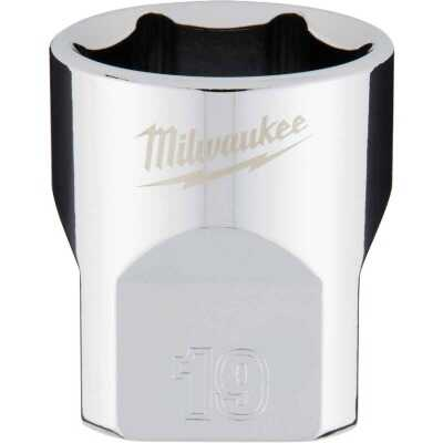 Milwaukee 3/8 In. Drive 19 mm 6-Point Shallow Metric Socket with FOUR FLAT Sides