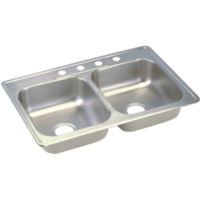 Elkay Double Bowl 33 In. x 19 In. x 6 In. Deep Satin Stainless Steel Kitchen Sink