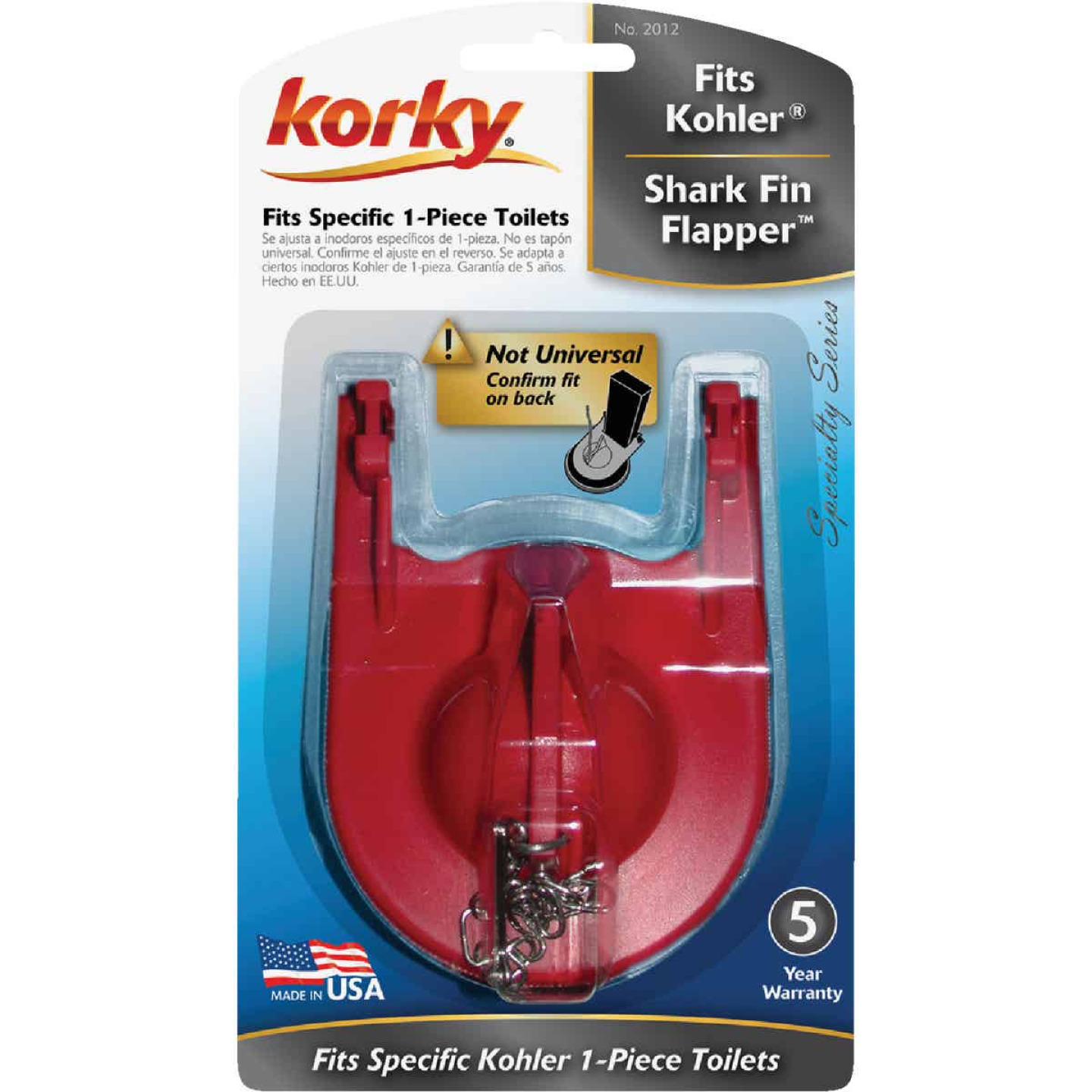 Korky Kohler Rubber Shark-Fin Toilet Flapper For 1-Pc. Toilet Image 2