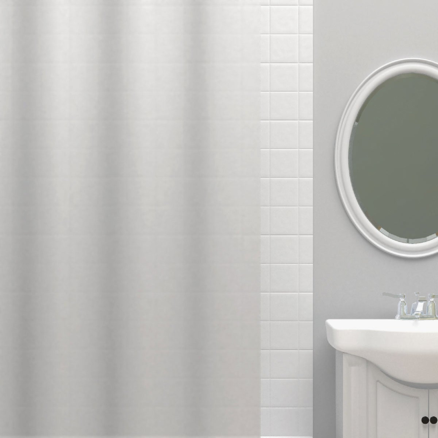 Zenna Home 70 In. x 72 In. Frosty Lightweight PEVA Shower Curtain Liner Image 1