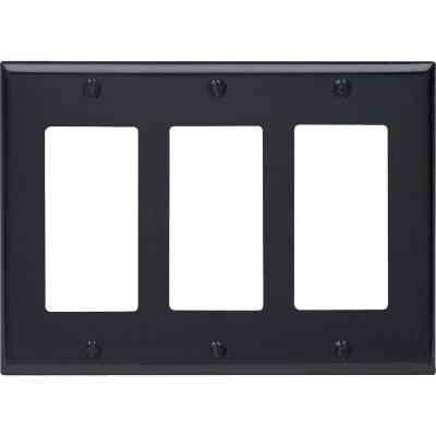 Leviton Decora 3-Gang Smooth Plastic Rocker Decorator Wall Plate, Black