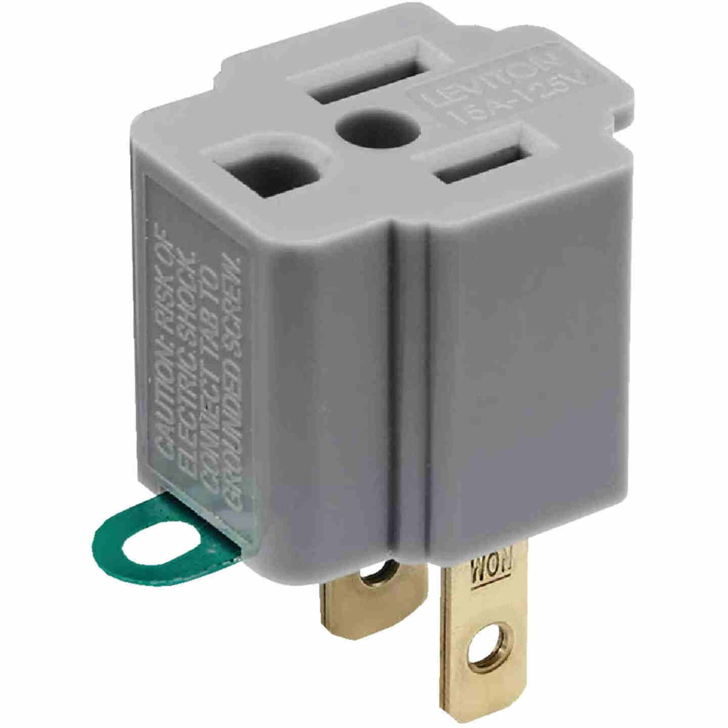 Leviton 15A 125V Gray Grounding Cube Tap Outlet Adapter Image 2