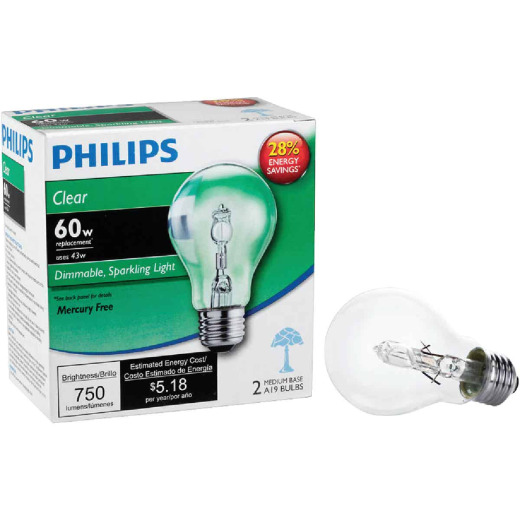 Philips 60W Equivalent Clear Medium Base A19 Halogen Light Bulb (2-Pack)