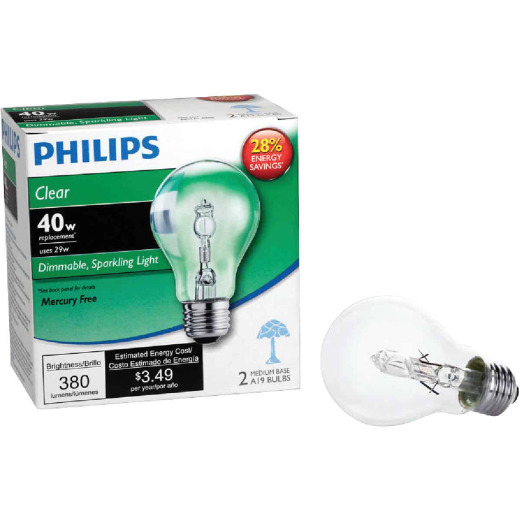 Philips 40W Equivalent Clear Medium Base A19 Halogen Light Bulb (2-Pack)
