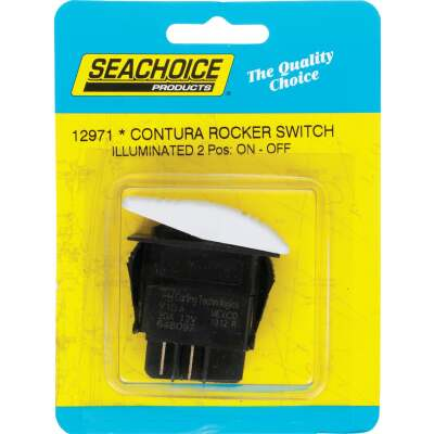 Seachoice Contura 20A 12V White Illuminated Rocker Switch, On/Off