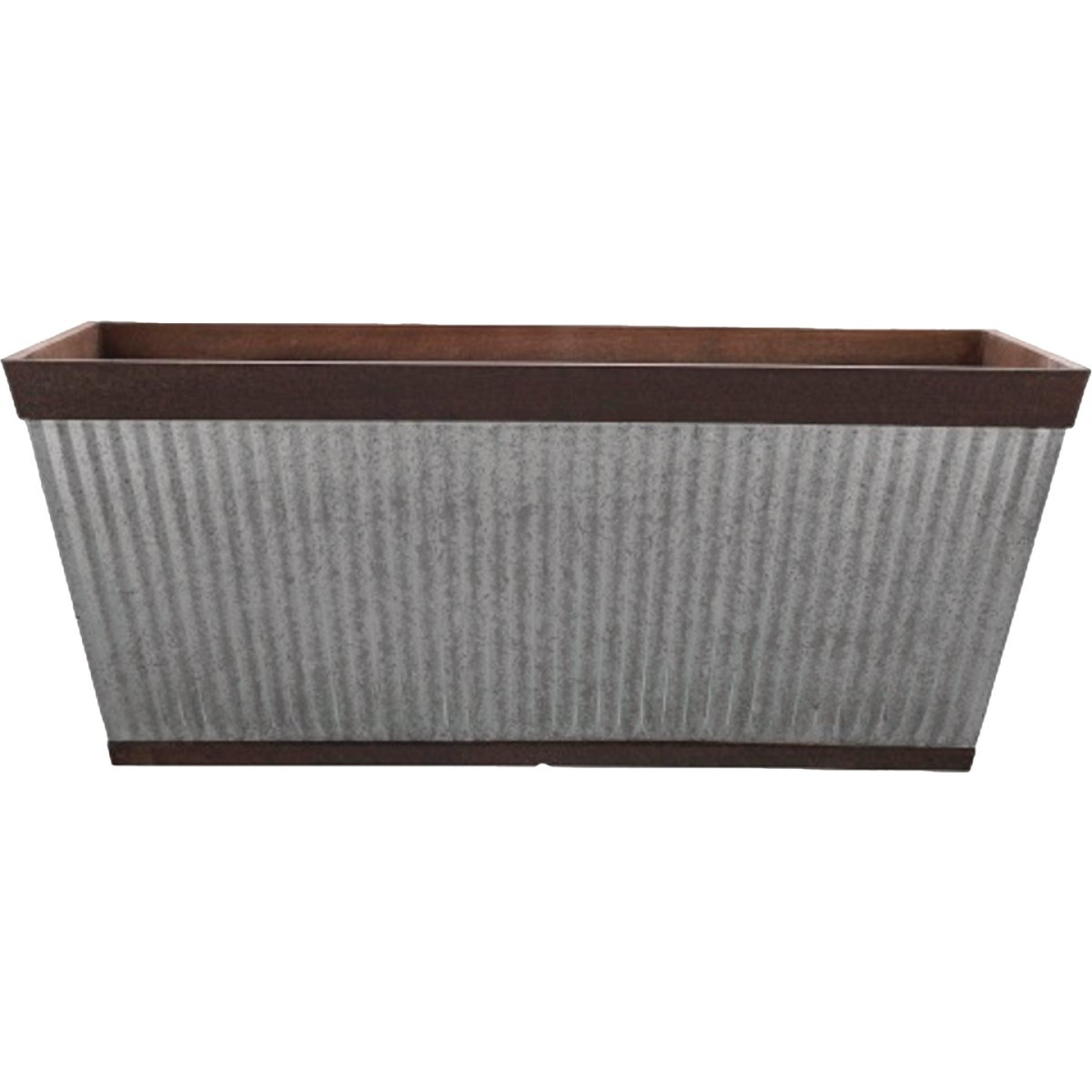 Southern Patio Westlake 24 In. Resin Rustic Galvanized Pleated Deck Rail Planter Image 1