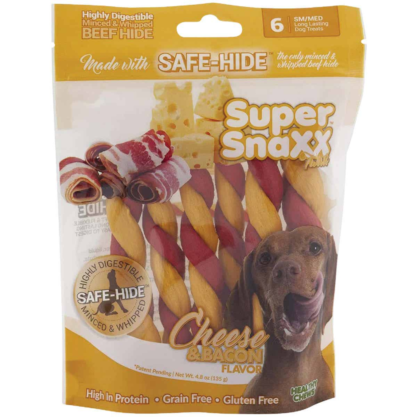 Healthy Chews Super SnaXX Twists Cheese & Bacon Dog Treat (6-Pack) Image 1