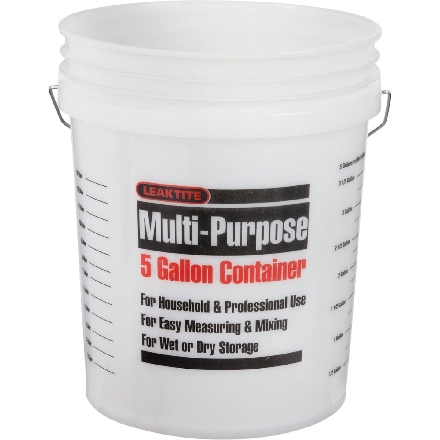 Leaktite 5 Gal. Clear Plastic Pail with Measuring Increments Image 1