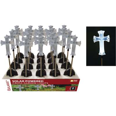 Solaris Acrylic Cross 34 In. H. Solar Stake Light Lawn Ornament