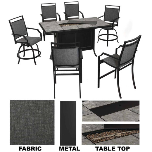 SunJoy Lindero 7-Piece Dining Set with Firepit Table