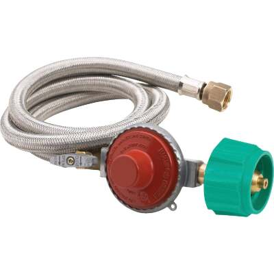 Bayou Classic 48 In. Stainless Steel High Pressure LP Hose & Preset Regulator