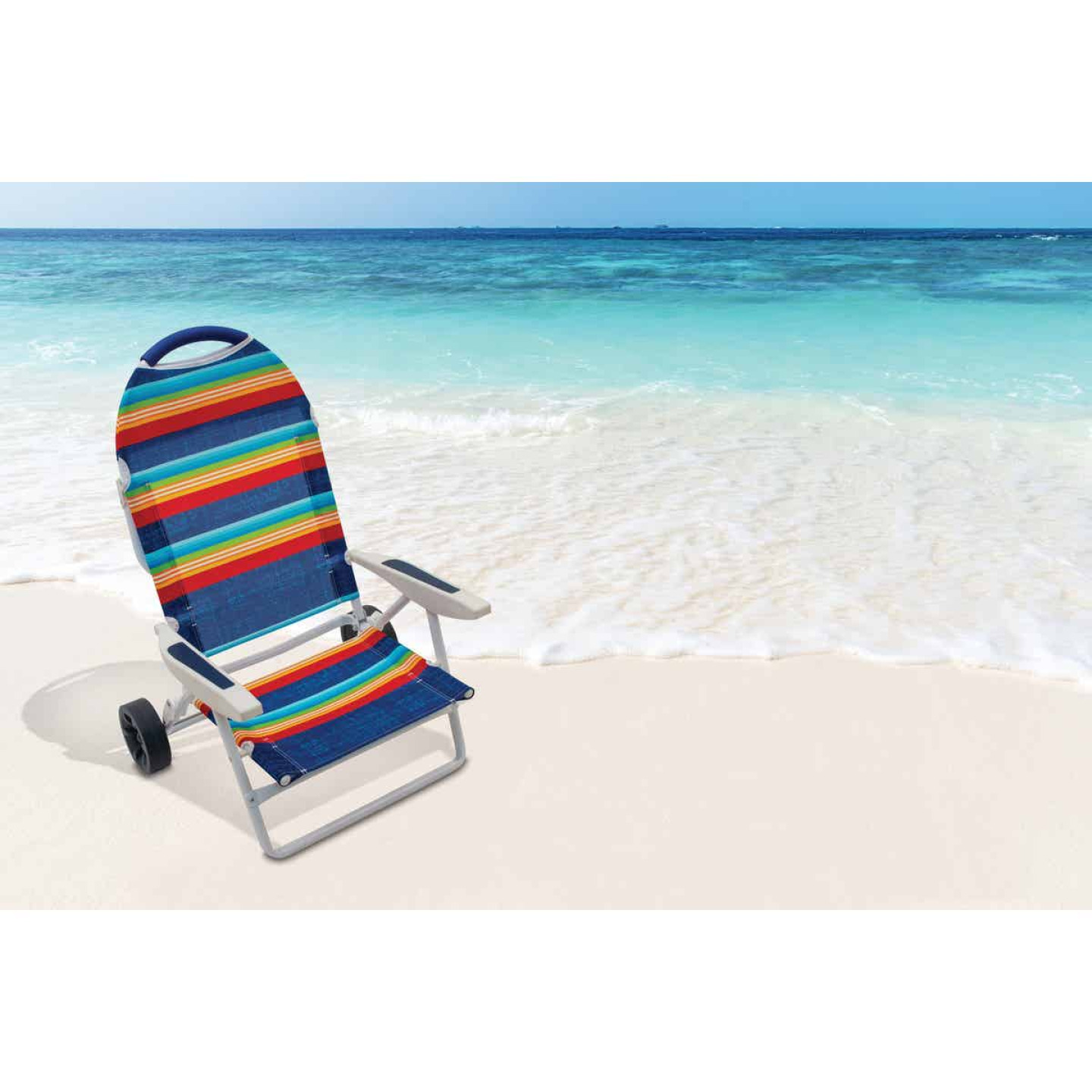 Rio Brands Transporter 5-Position Striped Steel Folding Beach Chair Image 3