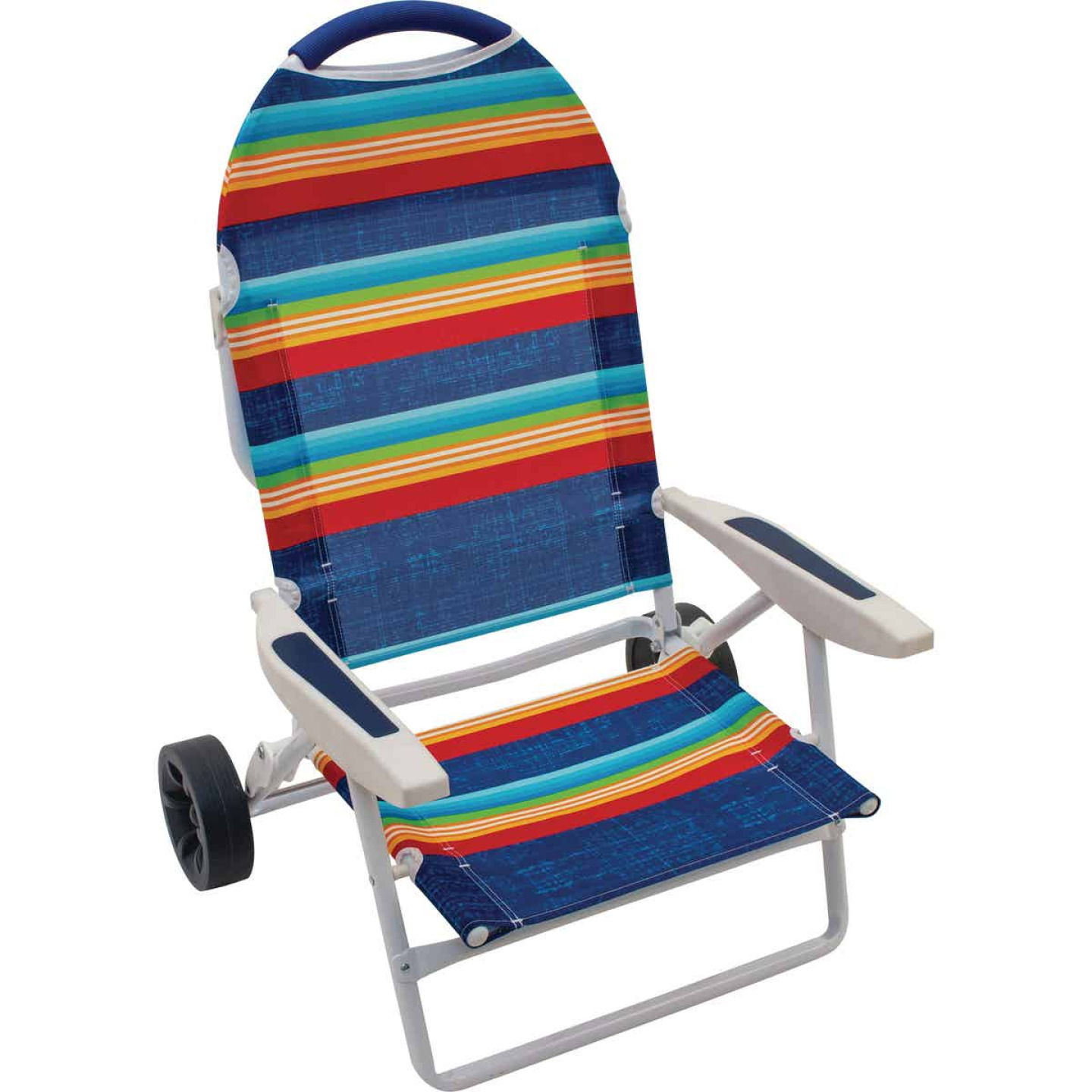 Rio Brands Transporter 5-Position Striped Steel Folding Beach Chair Image 1