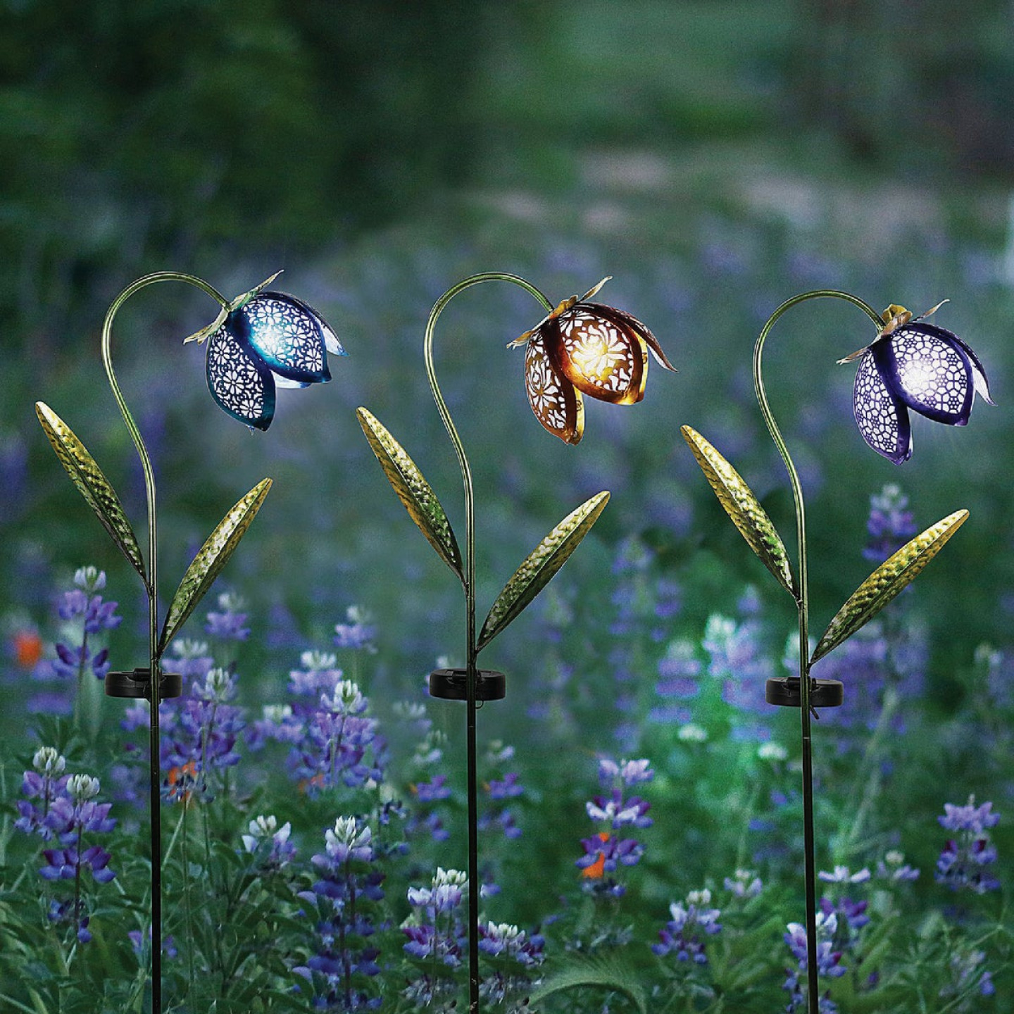 Solar Metal and Glass Flower Garden Stake Image 2