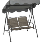Outdoor Expressions 2-Person 61.41 In. W. x 64.96 In. H. x 47.24 In. D. Brown Patio Swing Image 7