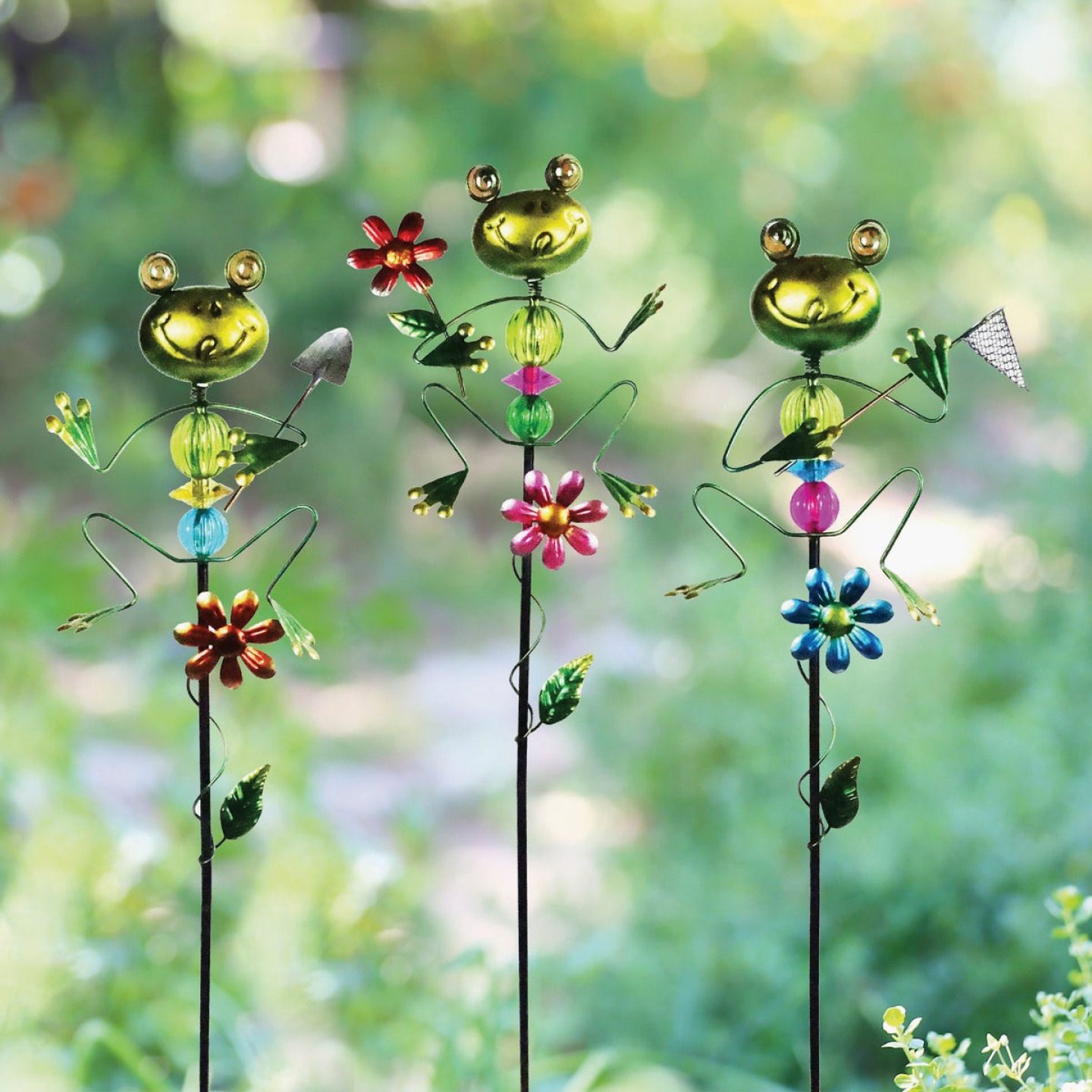 Alpine 36 In. Metal Frog Garden Stake Lawn Ornament Image 2