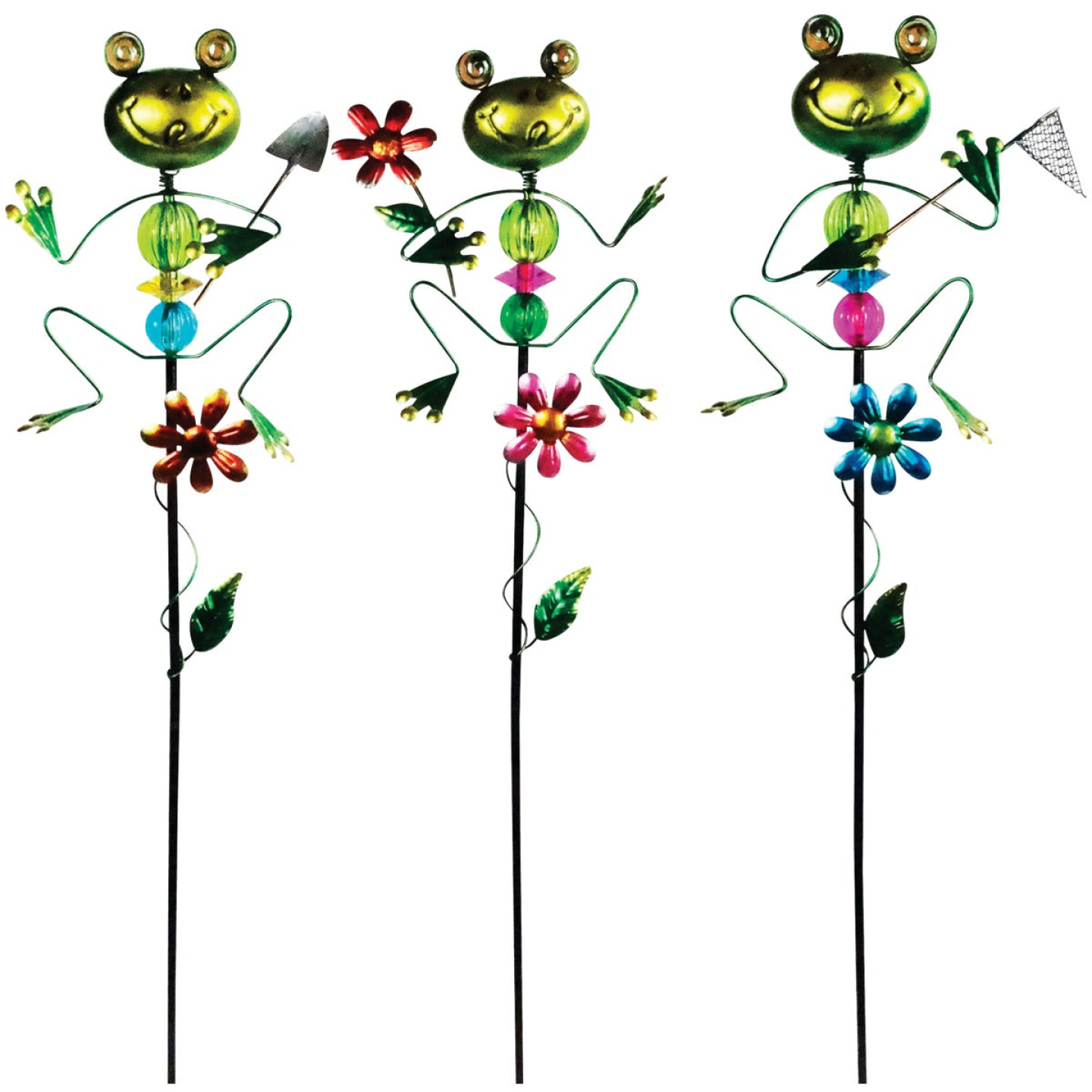Alpine 36 In. Metal Frog Garden Stake Lawn Ornament Image 1