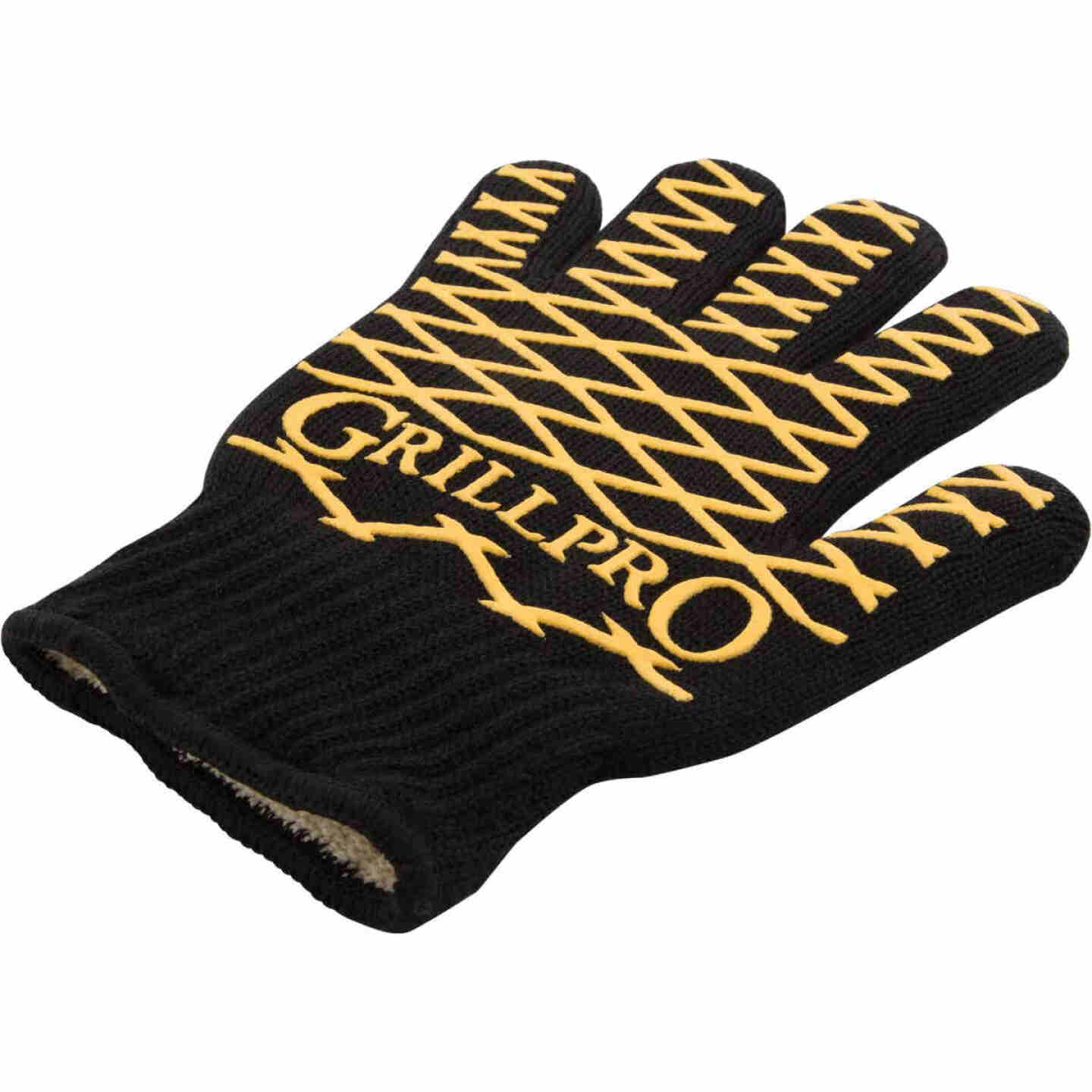 GrillPro One Size Fits Most Black & Yellow Heat Resistant Barbeque Mitt Image 1