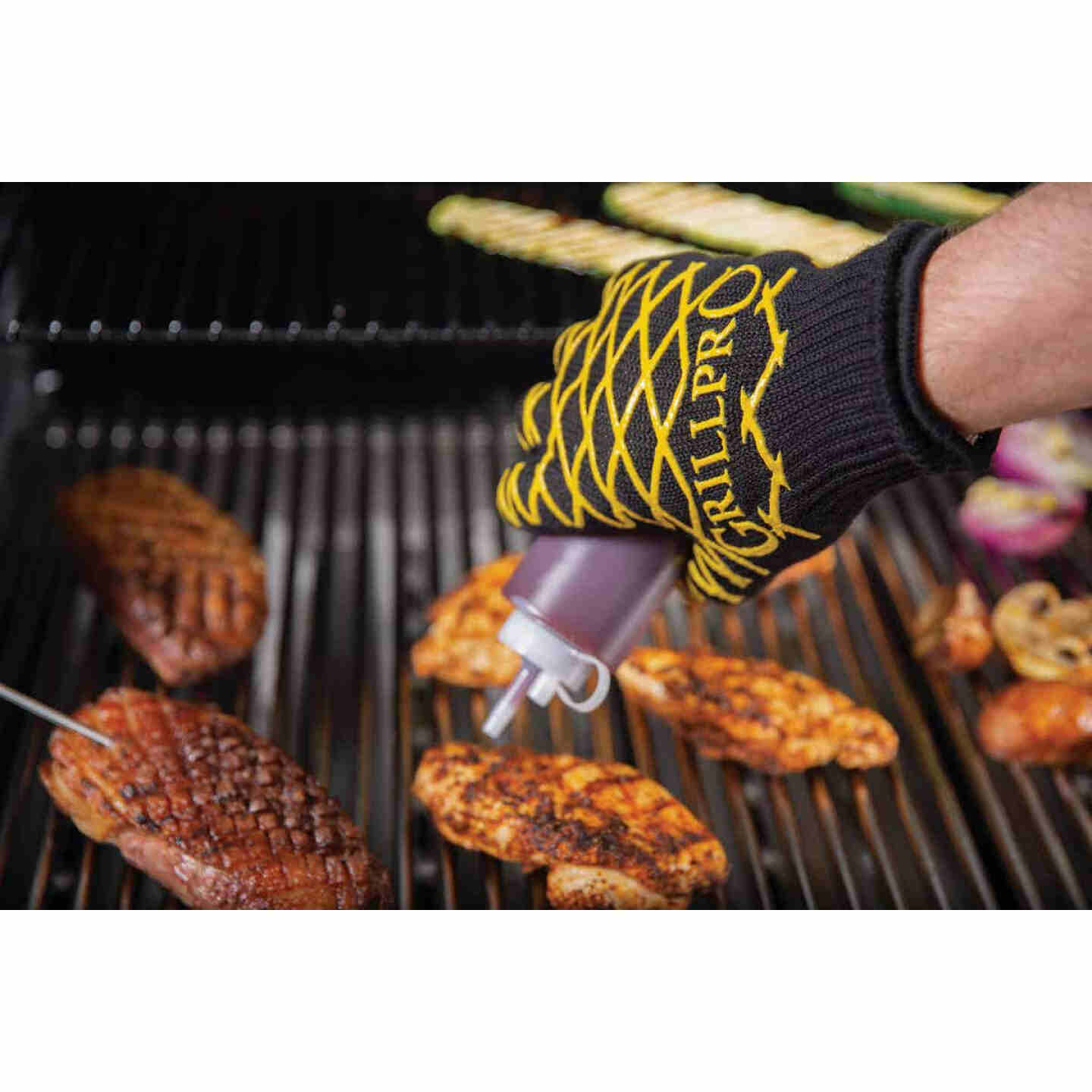 GrillPro One Size Fits Most Black & Yellow Heat Resistant Barbeque Mitt Image 3