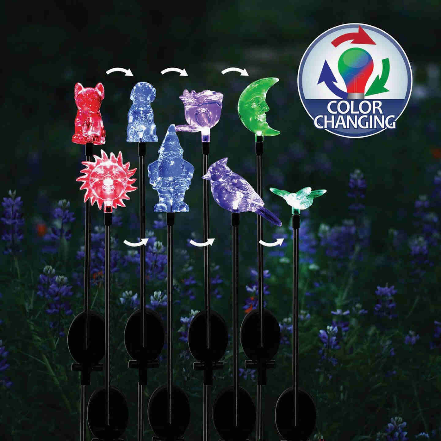 Alpine Plastic 30 In. H. Color Changing LED Solar Stake Light Image 2