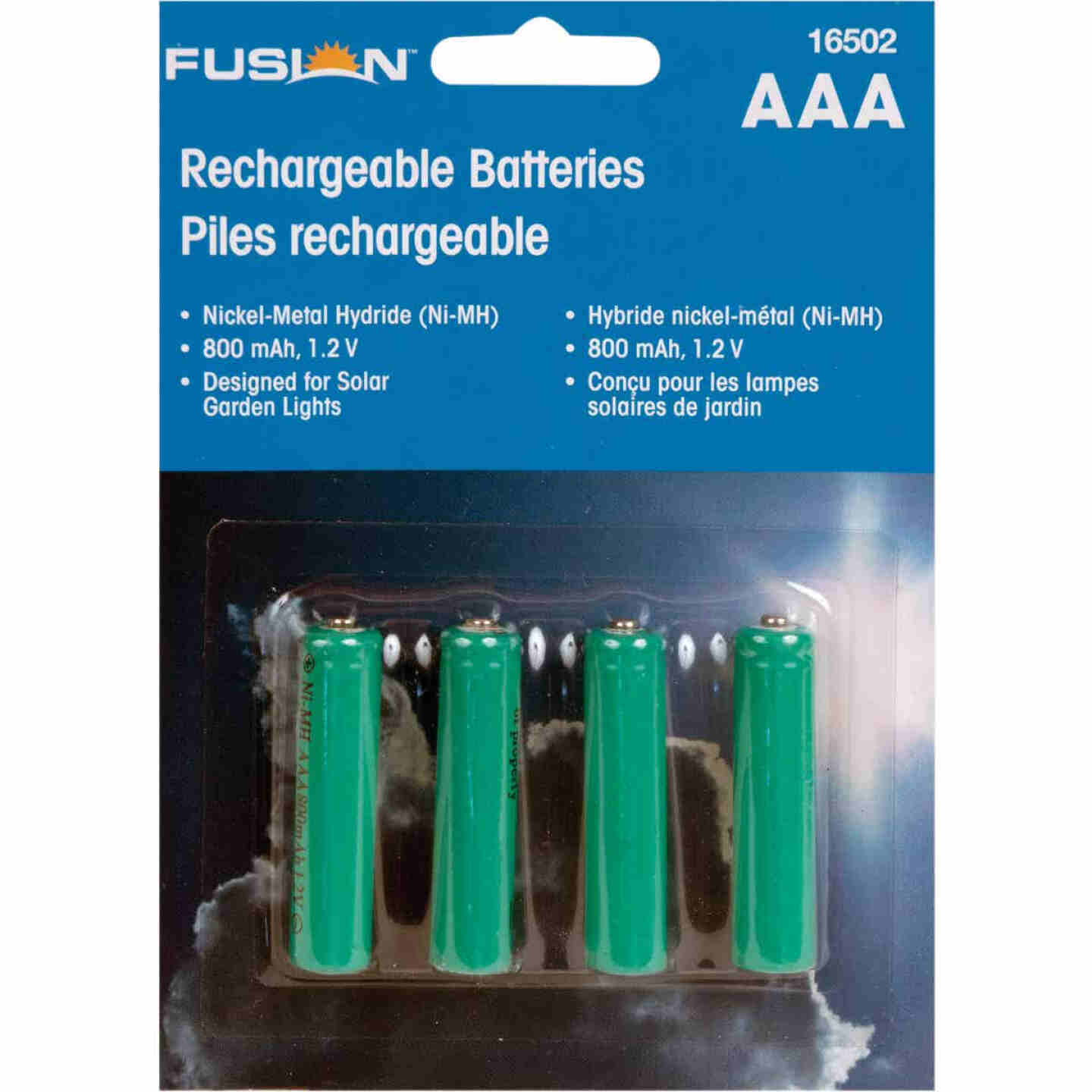 Fusion AAA 800 mAh Ni-MH Solar Replacement Battery (4-Pack) Image 1