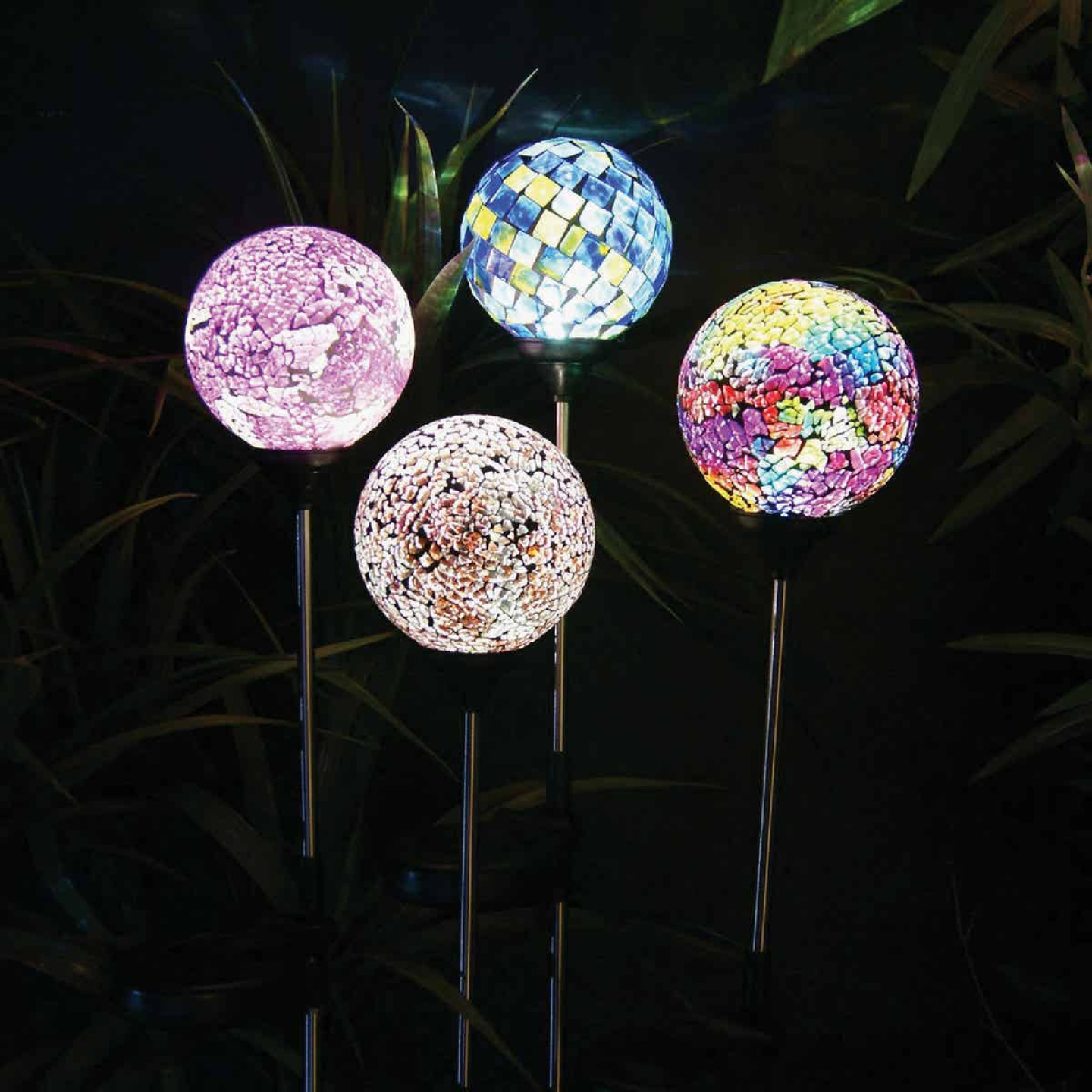 Alpine Glass Mosaic Globe 33 In. H. Solar Stake Light Image 2