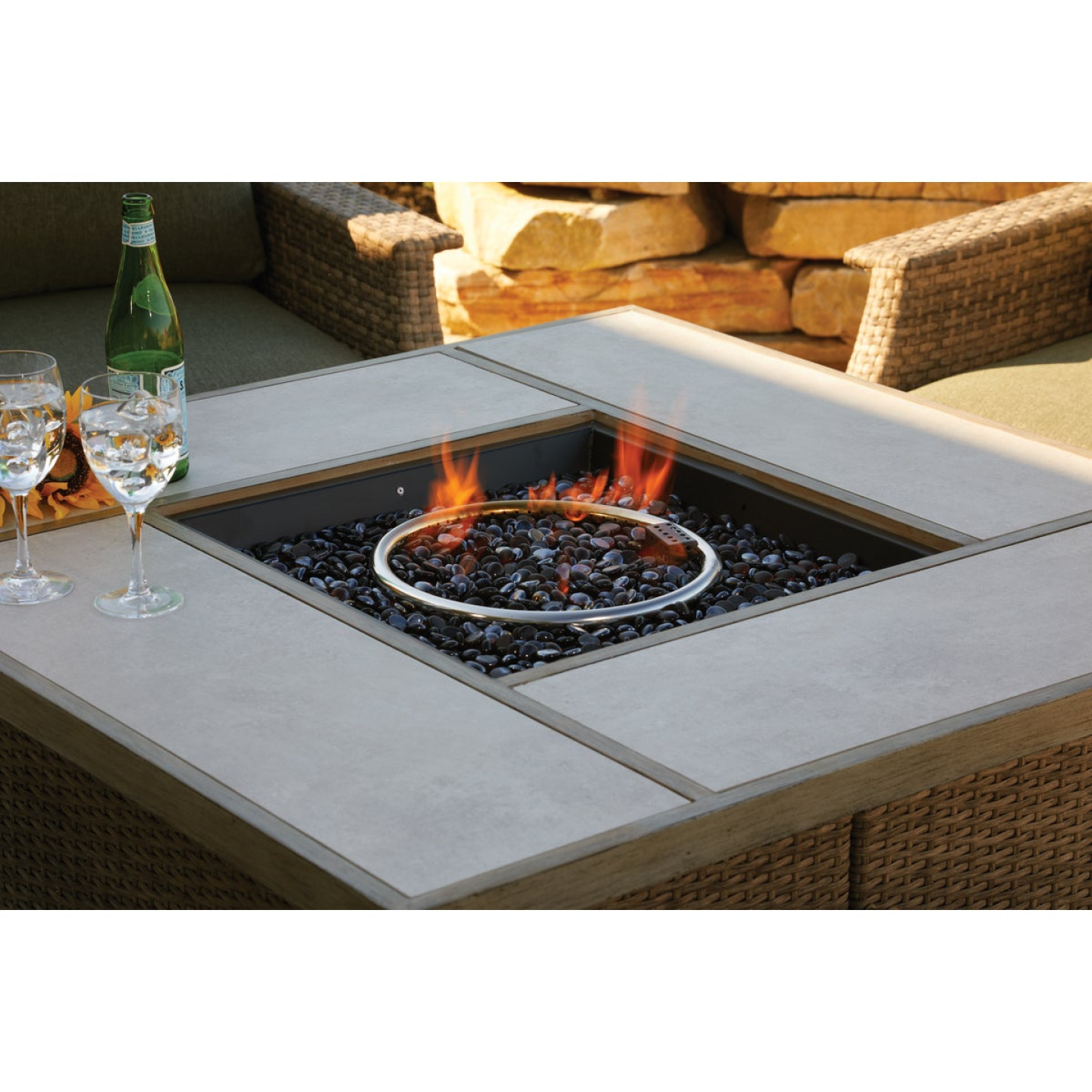 Pacific Casual Shady Creek 5-Piece Gas Fire Pit Chat Set Image 7