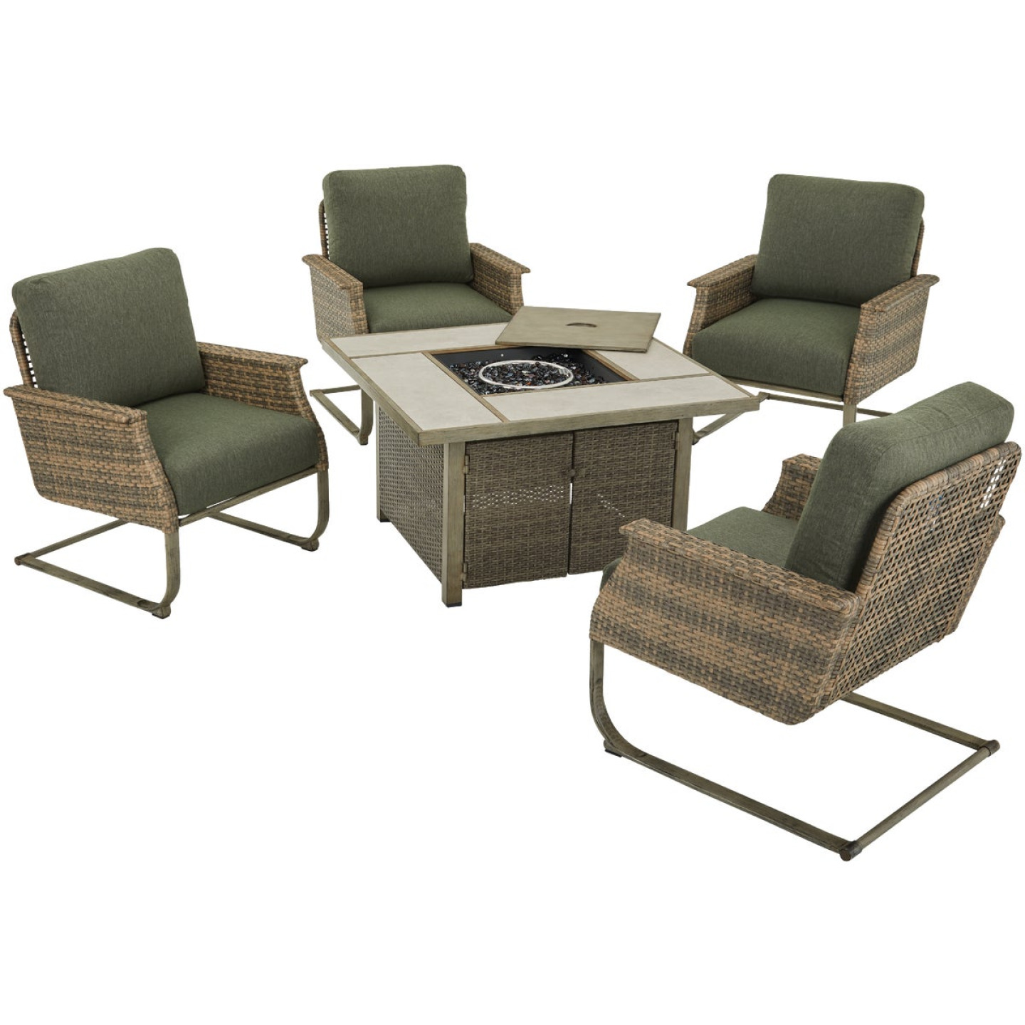 Pacific Casual Shady Creek 5-Piece Gas Fire Pit Chat Set Image 1
